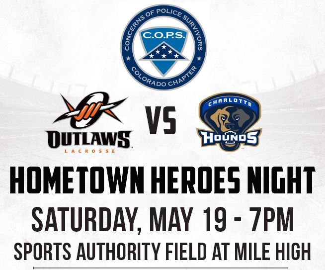 Poster previewing Denver outlaws Hometown Heroes game all text