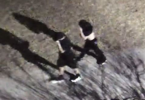 two white teen suspects walking with spray paint cans in hand