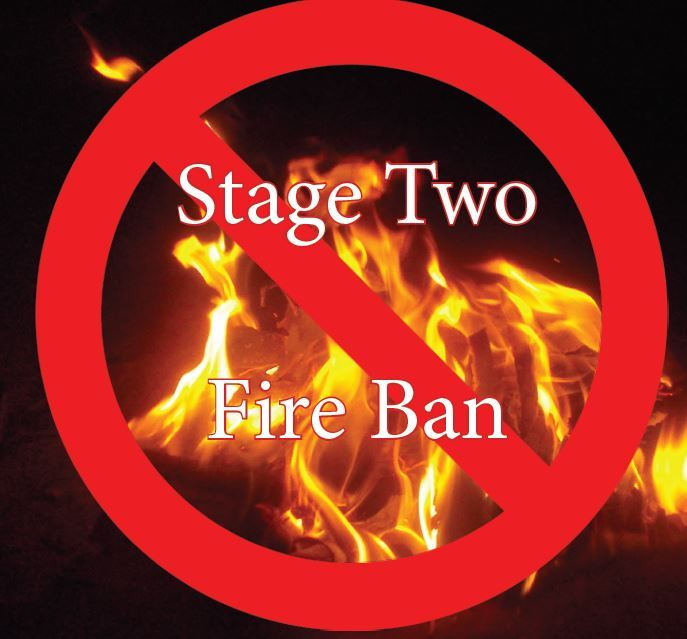 Stage two fire ban words on a poster